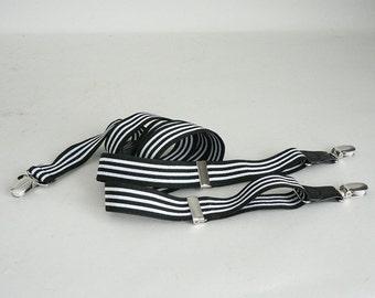Mens Black Stripe Suspenders