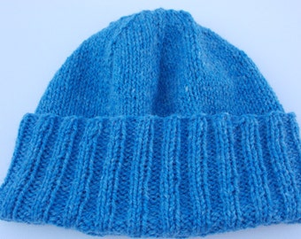 Blue Knitted Watch Cap - Convertible Collection - Watch Cap - Wool - READY TO SHIP!