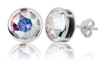 Aurora Borealis Round Sterling Stud Earrings // Bright Fun // Carnival Glass Earrings // Gift Under 50 // Hypoallergenic