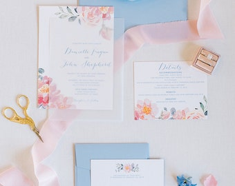 Vellum Overlay Floral Wedding Invitation in Blush Pink, Light Blue and Coral with RSVP, Details & Envelope Liner - Other Colors Available