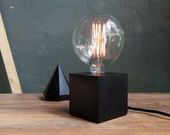 Black concrete Lamp. Concrete table lamp. Concrete desk lamp. Industrial style. Concrete light. Vintage bulb. Table lamp. Lighting. Concrete