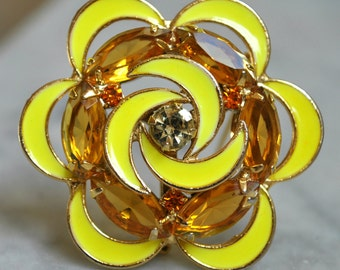 Juliana Style Flower Brooch with Yellow Enameling and Amber Rhinestones - SALE