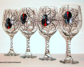Black Widow Spiders Halloween Glassware Hand Painted Wine Glasses Spider Web Set of  4 - 20 oz. Halloween Party Tableware Gifts