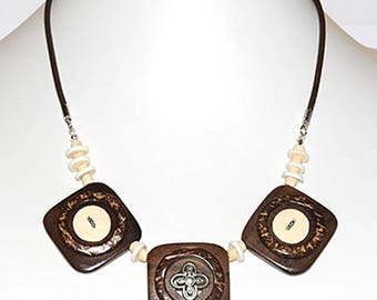 Coconut shell, leather and ostrich egg shell necklace