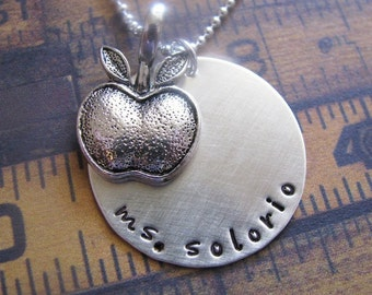 Custom apple teacher necklace - personalize with teacher's name