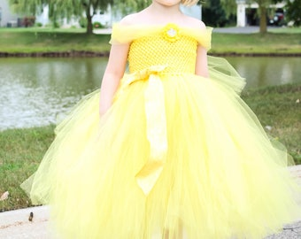 Beauty and the Beast tutu dress. Disney princess tutu dress. Child Belle Costume. Yellow pageant dress.  sc 1 st  Etsy : beauty pageant halloween costume  - Germanpascual.Com
