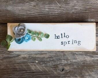 hello spring mini sign