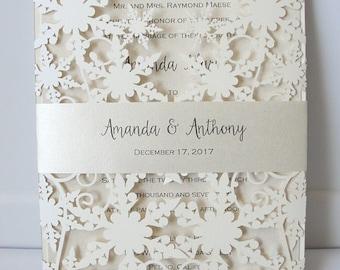 Winter Wedding Invitation, Snowflake Wedding Invite, December Wedding, Winter Wonderland Wedding, Snowflake Invite, SNOW