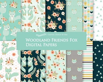 Fox Digital Paper, Mint Fox, Woodland Friends, Fox Digital, Fox Digital Paper Pack - Instant Download - DP174