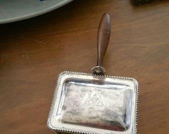 FB Rogers Silverplate Silent Butler Ashtray Vintage Major Ab Adversis