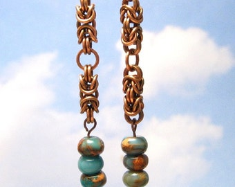 Copper Dangle Earrings, Chainmail Earrings With Beads, Copper Chainmaille Jewelry, Byzantine Earrings, Jasper Stone Jewelry, Copper Earrings