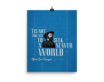 Lord Alfred Tennyson in Blue Poster (Poet, Poetry, Literary Gifts)