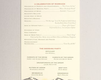 Fall Longs Peak Colorado Mountain Wedding Program