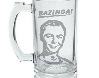 Big Bang Theory Sheldon Mug, Bazinga Mug, Sheldon Cooper Mug, Personalized DEEP Etched Mug