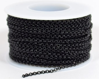 2.0mm Rolo Chain - Shiny Midnight Black - 2.0mm Links - CH48