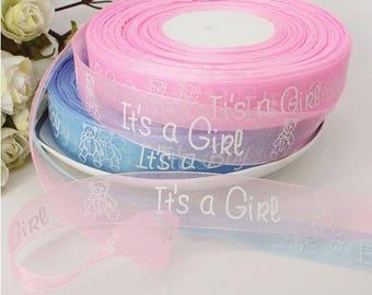 "Its A Girl, Its A Boy 1"" Ribbon, Baby Shower Ribbon"