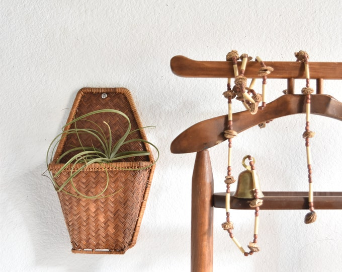 vintage woven rattan wall hanging basket with pocket planter / mail organizer