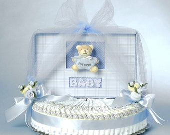 Blue Bear Baby Book Diaper Cake Gift