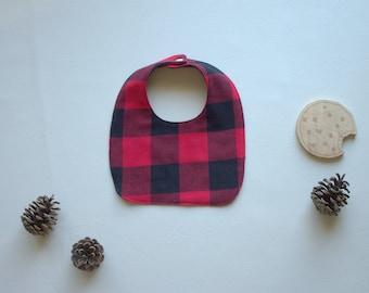 Plaid Baby Bib - Drooling Bib - Infant Bib - Early Feeding Bib - Baby Boy Gift - Buffalo Plaid Baby Bib - Made 4U Handmade Designs