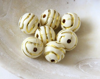 White And Gold 14mm Beads- 25 Counts, Acrylic Beads, Jewelry Making , Unique Beads, Limited Supply
