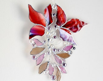 Red Burgundy Woodland Wild Forest Leaves. Stained Glass Suncatcher