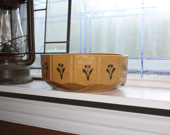 Antique Yellowware Bowl With Stenciled Daisies