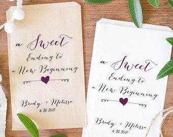 Wedding Favor Bags, Custom Candy Bags, Personalized Treat Bags, A Sweet Ending To A New Beginning-BWE-03