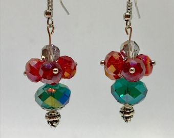 Red and green flower hanging earrings, dangle earrings, green and red drop earrings