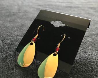 Gold Oval Dangle Earrings