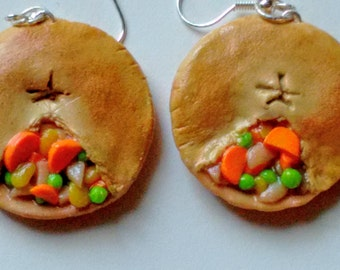 Chicken Pot Pie Earrings - Miniature Food Jewelry - Inedible Jewelry - Junk Food Jewelry - Kawaii Jewelry - Pie Jewelry - Fake Food Jewelry