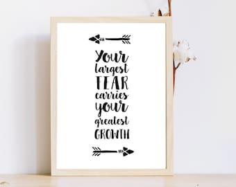 Citation d'impression/motivation / votre plus grande peur/Greatest croissance/Instant Télécharger/8 x 10 imprimable/flèches/Word/Wall art Print
