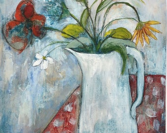Acrylic painting still life floral on paper original unframed funky flowers in pitcher