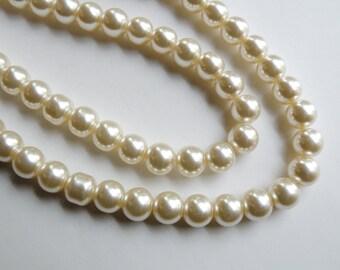 Cream glass pearl beads round 10mm full strand 7781GB
