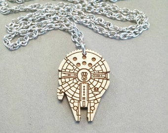 "Star Wars Millennium Falcon Necklace - Laser Engraved Maple Wood - Bronze or Silver Chain - 18"" or 24"""