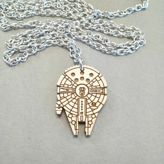 Star wars millennium falcon necklace laser engraved maple aloadofball Image collections