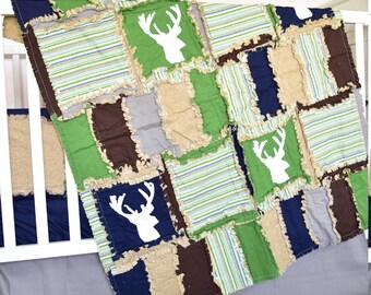 Woodland Crib Set  - Navy / Green / Brown Rustic Bedding - Deer Baby Bedding - Hunting Crib Bedding - Adventure Nursery - Forest Nursery