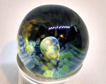 Heady Space Marble Blown Glass Marble Lampwork Space Glass Orb Silver Fumed