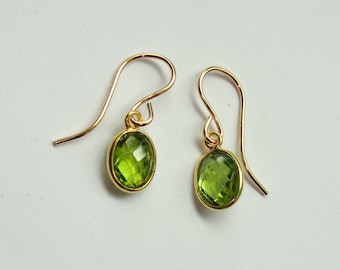 august green peridot birthstone studs pin natural stone raw crystal earrings