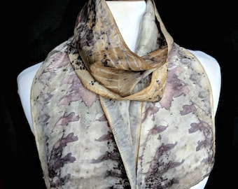 Sumac, Maple Leaf Eco-Print Silk Scarf. Hand Naturally Dyed Purple Habotai Scarf. Eco printed Scarf. Approx. 8x54 in. 1EH1