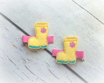 Rain Boot hair clip Rainy Day clip Boot hair clip . Pick Left side or Right.