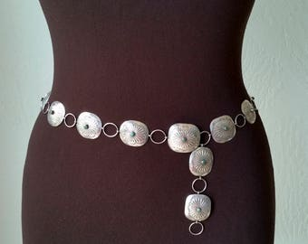 1940's Navajo Concho Belt Vintage Silver Navaho Native American Southwestern Forties Old Pawn Belt 40's Silver