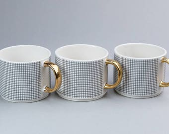 CUP PATTERN  -coffee cup ,tea cup , ceramic cup , white cup , golden handle , contemporary ceramics , nordic design,handmade