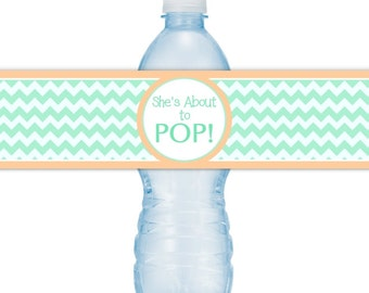 She's About To Pop Water Bottle Labels, INSTANT DOWNLOAD - Mint Chevron and Peach About to Pop Baby Shower, you print, you cut, DIY