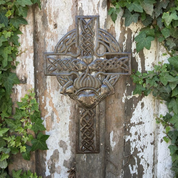 "Celtic Cross, Metal Wall Art Collection, Handmade 11.5"" X 18"""