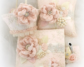 Vintage Style Ring Bearer Pillow, Guest Book, Flower Girl Basket Set, Ivory and Blush, Signature Book, Girl Basket, Ring Pillow, Elegant