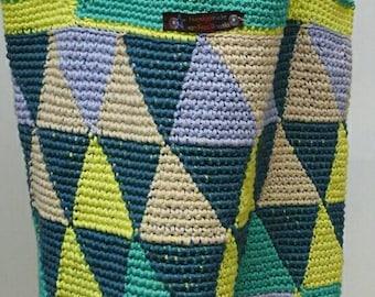Sturdy, spring-carrying crochet bag, crochet bag