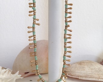 "38"" Long Mint Green Seed Beads Necklace/ Coastal Style Necklace/ Rope Necklace / Layering Necklace/ Nautical Style"