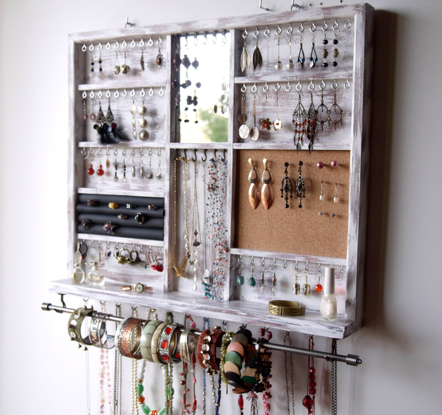 Top Jewelry holder. Large earrings display shelf. White jewelry RE06