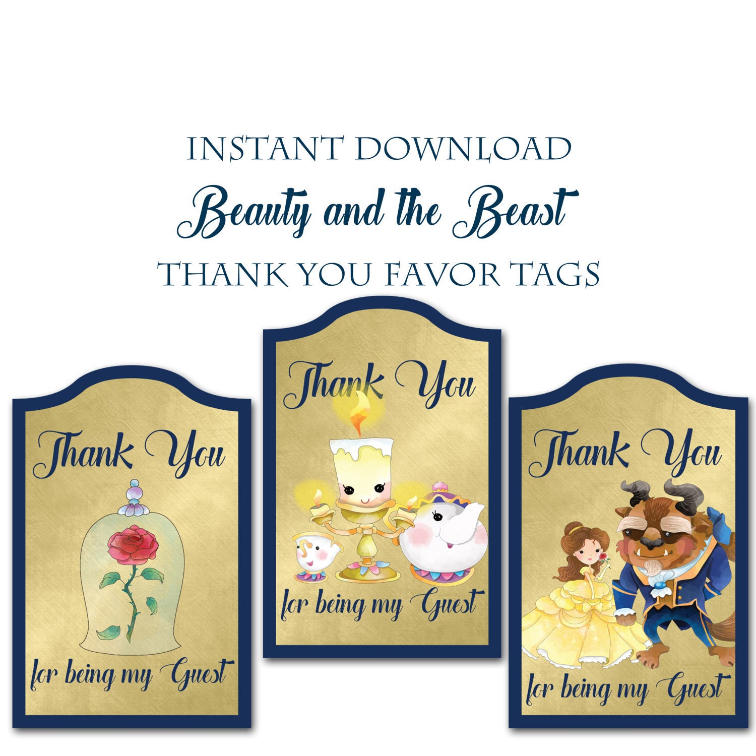 Beauty and the Beast Thank you Gift Tags Instant Download