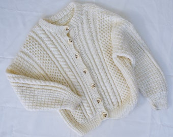 Childrens Hand Made Vintage Cream Knitted Cardigan